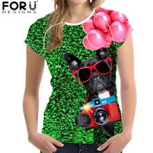 FORUDESIGNS 2018 Summer Women T Shirt 3D Dog Printing for Tees Girls Brand T-shirt Cute Cat Femme Big Size XXL Stylish
