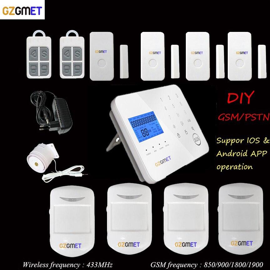 GZGMET alarmes de sécurité à la maison espagnoles GSM 433 sans fil maison mini gsm pir alarma avec contrôle d'application de téléphone intelligent