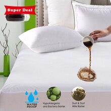 Turetrip suave cubierta de colchón impermeable Anti ácaros almohadilla de colchón cubierta de cama impermeable sábana de cama a prueba de insectos colchón Topper