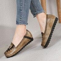 2019 VALLU Original Leather Women Flat Shoes Comfortable Soft Lady Flats Vintage Female Moccasins Slip On Loafers