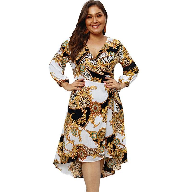Women's Clothing 2019 Spring Boho Dress Women 4xl Plus Size Floral Print Split Loose Dress Flare V-neck Streetwear Fat Oversize Dress Party M0567 Products Hot Sale