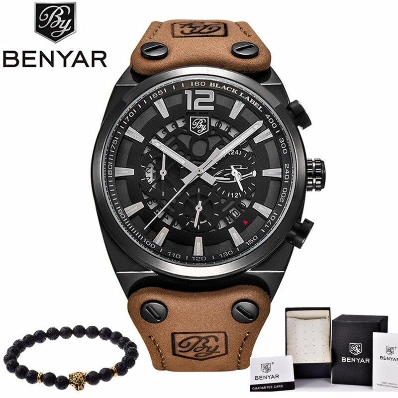 BENYAR Mens Watches Military Army Brand Luxury Sports Casual Waterproof Male Watch Quartz Stainless Steel Man Wristwatch XFCS