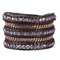 2016 New Arrival 1Pcs Crystal Beads 5 Strands Gold Plated Wrap Bracelets Genuine Leather Multicolor Friendship Bracelet