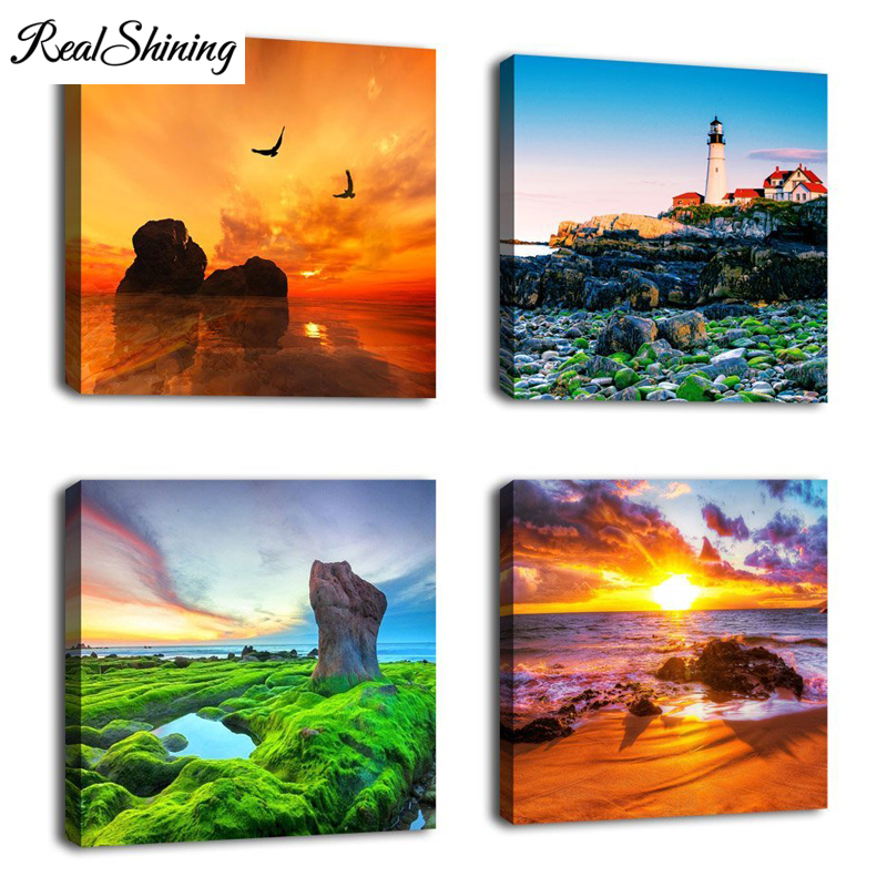 3D Cross Stitch Resin Full Square 4 Pieces Sunset Seascape Lighthouse Giclee DIY Diamond Painting Mosaic Embroidery Kits FS3678|Diamond Painting Cross Stitch| |  - title=