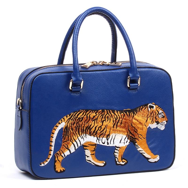 Femmes sacs en cuir véritable broderie Messenger sac fille sacs à bandoulière femme sac Braccialini Style artisanat dessin animé tigre