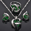 Classic Green Cubic Zirconia For Women Stamped 925 Silver Jewelry Set Pendant Necklace Earrings Rings JS010  Free Shipping
