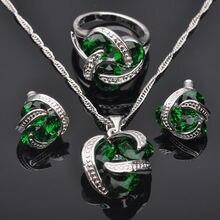 Clásico Verde Cubic Zirconia Para Las Mujeres Sellado 925 La Joyería de Plata Colgante de Collar de Anillos Aretes JS010 Envío Gratis