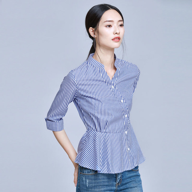 c9a72bdb000 Blue And White Striped Shirt Women 2018 Summer Fashion Peter Pan Collar Blouse  Short Sleeve Buttons Cotton Tops And Blouses