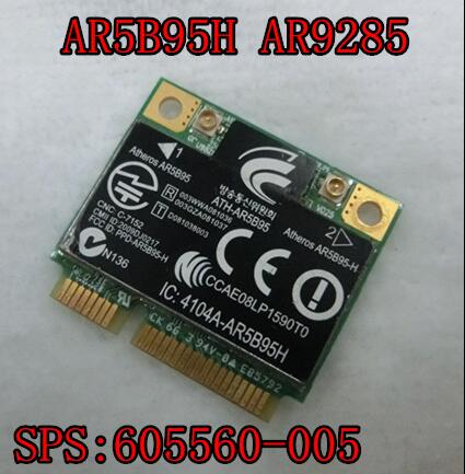 Atheros AR5B95 AR9285 802.11B/G/N Wireless Wifi Half Size Mini PCI-E Card SPS:605560-005 For HP CQ62 G42 CQ56 G6 G72 DV5 dv6 dv7