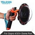 TELESIN 6 ''Dome Порт Крышка с Пистолета Trigger и Плавающей Ручка для Gopro Hero 4 Hero 3 3 + Подводный фотографии