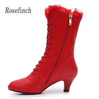 Lace Samba Rumba Latin Dance Boots Short Soft Bottom Dance Shoes Rubber Women's Boots Salsa Cha Cha Dance Shoes black/Red A166