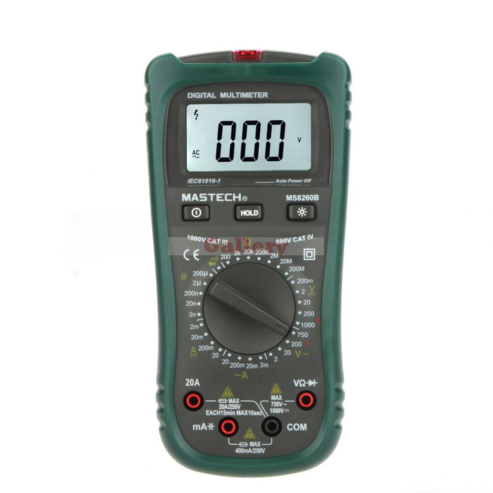 Ms8260b Lcd Digital Multimeter Dmm Voltmeter Ammeter Ohmmeter W Capacitance Test & Backlight Meter Testers f47n multimeter pointer mechanical capacitance meter ammeter voltmeter pocket