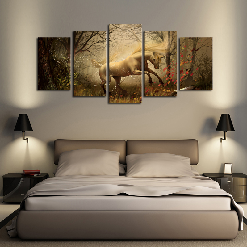 5 Panels (No Frame)Canvas Wall Art Dream Horse Pictures Paint on Canvas Painting for Home Kitchen Decorative no frame canvas