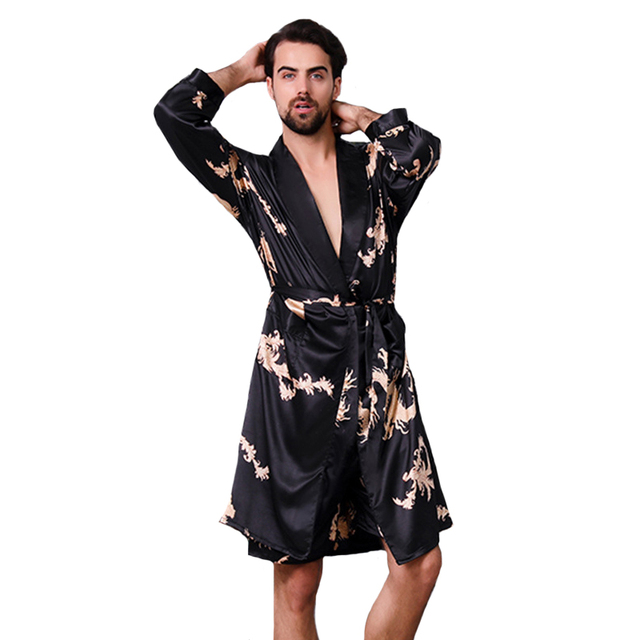 Men Kimono Bathrobe Faux Silk Sleepwear Plus Size 3XL 4XL 5XL Male Print  Dragon Robe Long bdba9120e