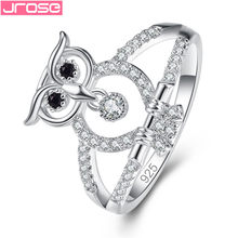 JROSE Cute Clear Zircon Black Eyes Owl Sterling Silver 925 Jewelry Finger Rings for Woman Wedding Engagement Jewellery(China)