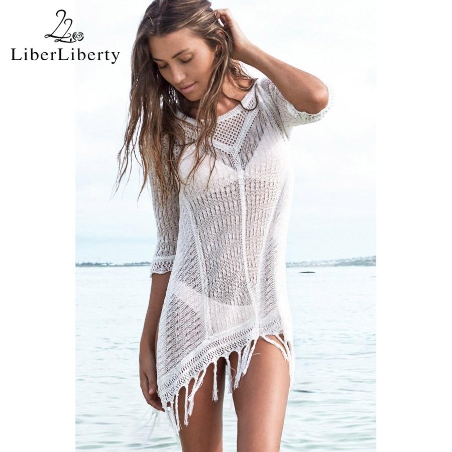 Nou 2018 Beach Tunic Sexy Cover Up Femei Plajă Bluza Croșetată - Imbracaminte sport si accesorii