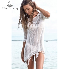 New 2016 Beach Tunic Sexy Swimwear Cover Up Women Blouse Crochet Pareo Swimsuit Summer Wear LE3165