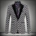2016 Новая Коллекция Весна Мода Полосой Блейзер Мужчины Повседневная Костюм Мужской пиджаки Slim Fit One Button Мужчины Костюм Куртка 5XL Бесплатно доставка