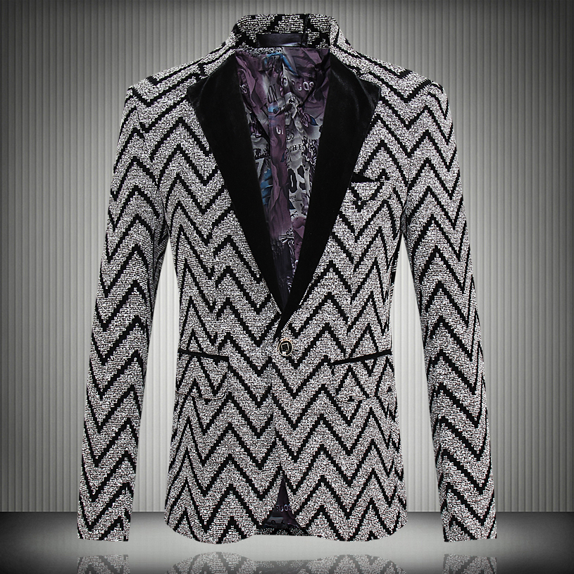 2016 New Spring Fashion Stripe Blazer Men Casual Suit Mens Blazers Slim Fit One Button Men