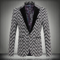 2016 New Spring Fashion Stripe Blazer Men Casual Suit Mens Blazers Slim Fit One Button Men Suit Jacket 5XL Free shipping