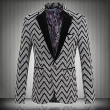 2016 neue Frühlingsmode Streifen Blazer Männer Casual Anzug Herren blazer Slim Fit One Button Männer Anzug Jacke 5XL Freies verschiffen