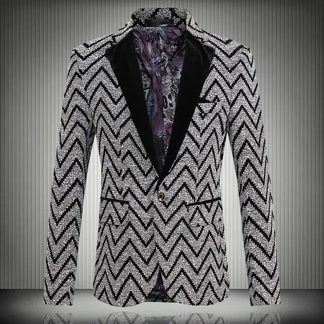 2016 Nueva Primavera Raya de La Manera Chaqueta de Los Hombres Traje Casual Para Hombre Blazers Slim Fit Un Botón de la Chaqueta de Los Hombres Traje 5XL Envío gratis