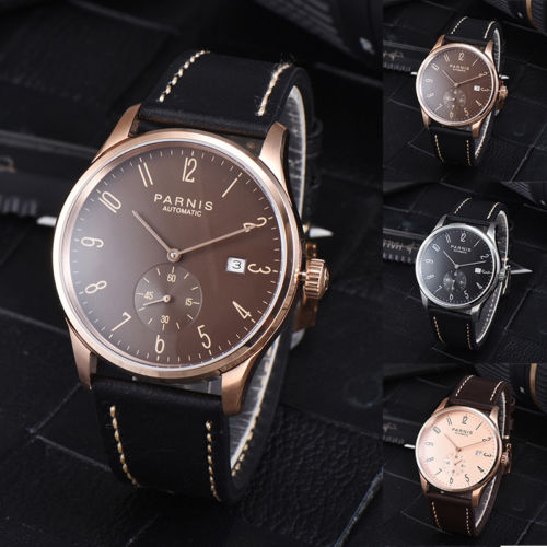 42mm Parnis Brown Black Rose Golden Dial SS Case Date Window 2018 New Top Brands Luxury Seagull Automatic Movement Men's Watch romantic 42mm parnis black dial luxury brand ss case valentines date leather miyota automatic movement men s business watch