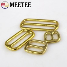 4pcs Meetee Solid Brass Tri-ring Slide Adjustable Buckle 13/16/20/25/32/38/50mm Backpack Webbing Straps Bag Sewing Accessories