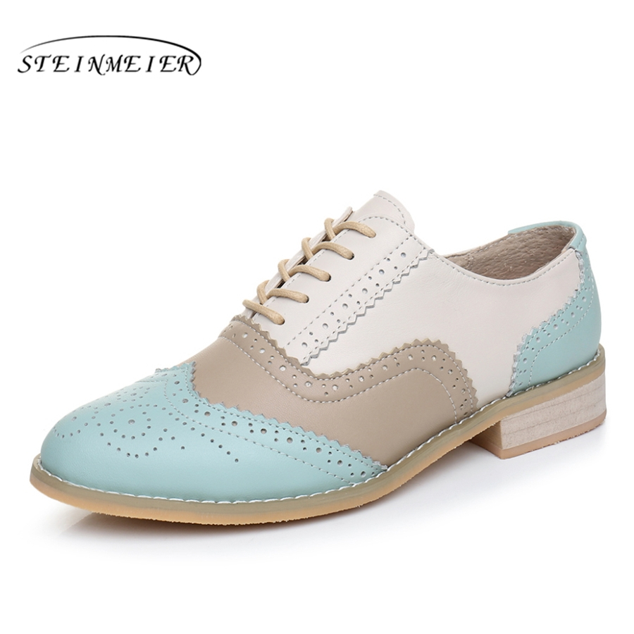 Women Genuine leather flats shoes handmade Black blue white 2017 sping vintage flat British style oxford shoes for women women genuine leather flat sandals shoes handmade beige white oxford slippers vintage square toe british style shoes