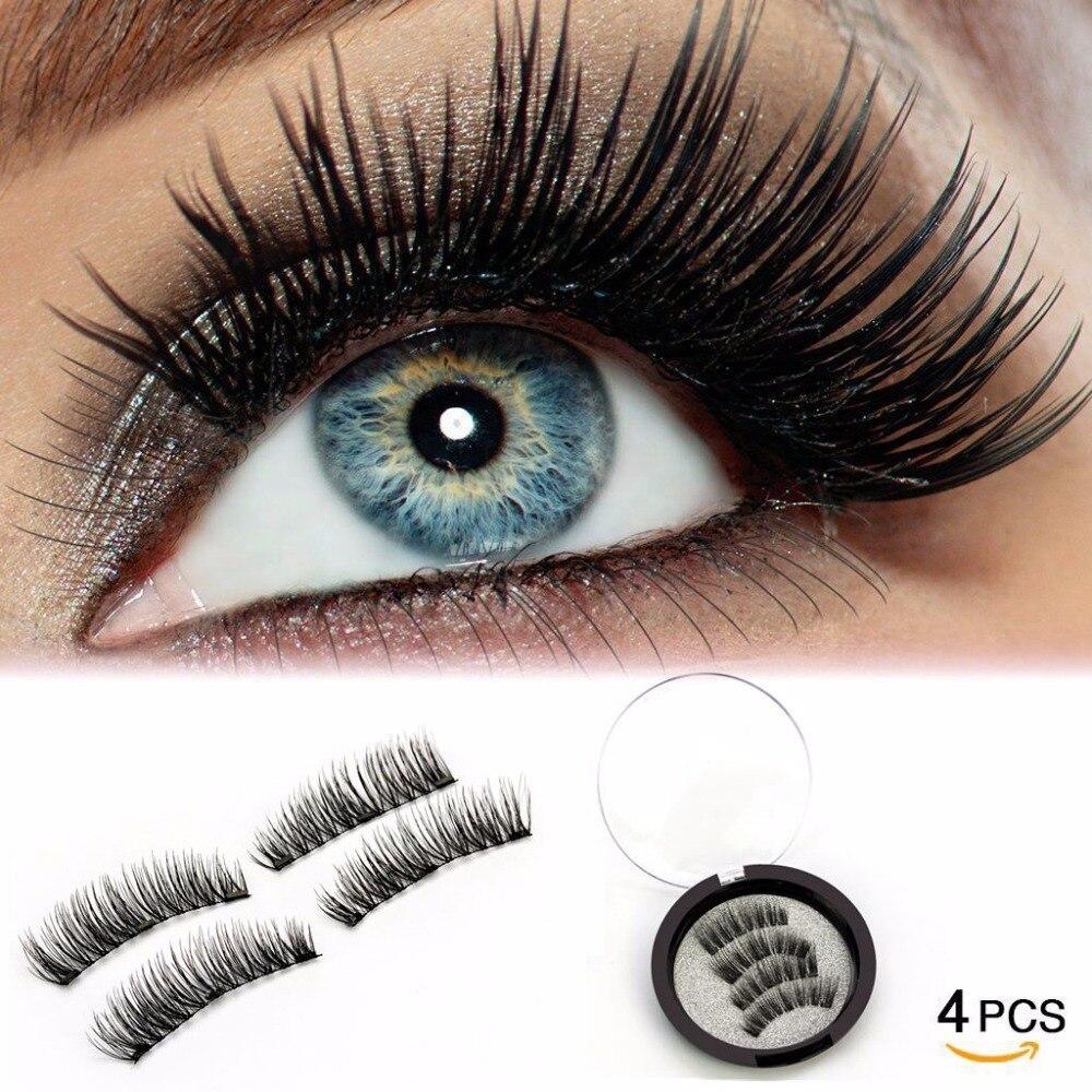 LEHUAMAO 3D Magnetic Eyelashes No Glue Reusable Magnet False Lashes 4pcs/Set 3 Magnet Handmade Soft Black Hair Fake Eyelash