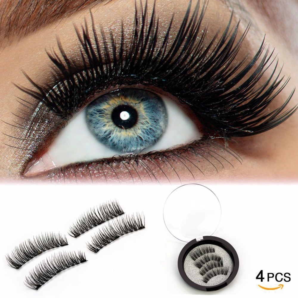 LEHUAMAO 3D Magnetic <font><b>Eyelashes</b></font> No Glue Reusable Magnet False Lashes 4pcs/Set 3 Magnet Handmade Soft Black Hair Fake <font><b>Eyelash</b></font> image