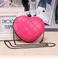 New 2016 Heart Shape Evening Party Bag Ladies Mini Frame Crossbody Shoulder Bags Women Alloy Chain Fashion Hot Pink Bag KSB155