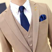 Men's high quality candy color slim suits New Brand male Formal wear Wedding Dress Business casual clothing jackets+Vest +pants