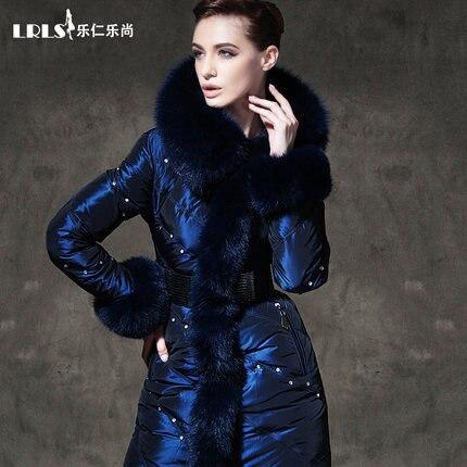 Роялкэт роскошный Вниз Пальто 2016 Зимняя Куртка Женщин вниз Куртки женщин алмаз пальто medium-long сгущает лисий мех верхняя одежда Куртка