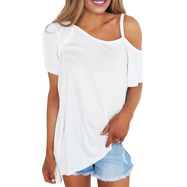 1ec9b1e7 Summer Women T-Shirts Sexy Strapless Shirts Off Shoulder Short-Sleeved T-Shirt  Loose Tee Tops WS964M