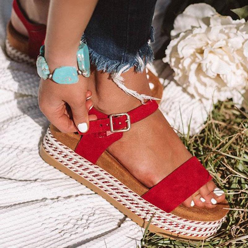 Plus Size Platform Sandals Thick Bottom Summer Wedges Women Sandals Female Buckle Casual Ladies Shoes