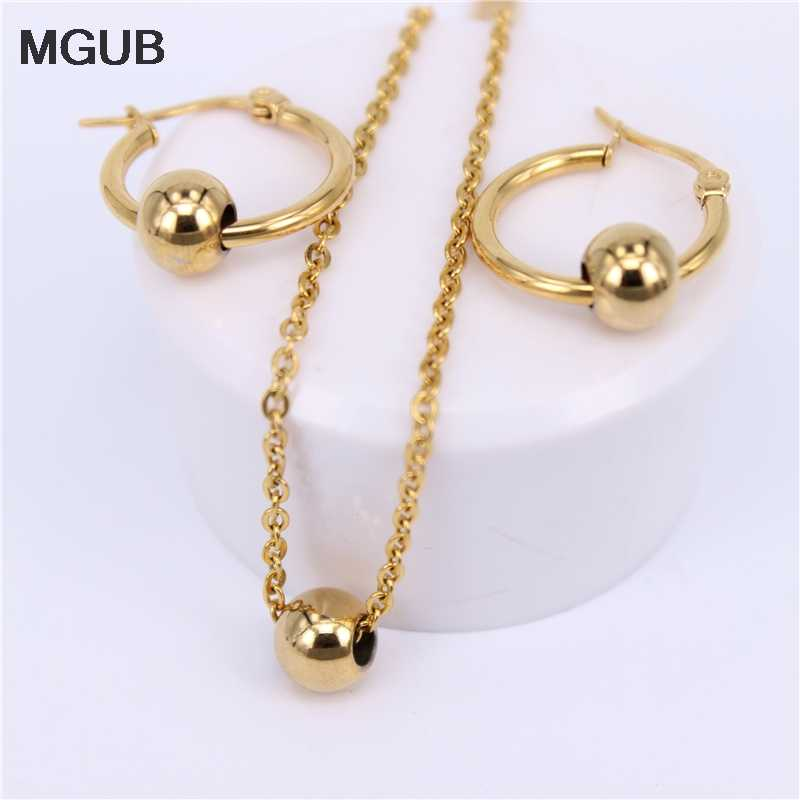 MGUB Multi-size Gold Color/Sivler stainless steel Fashion Metal beads Jewelry Sets Necklace and Earrings Women with Chain LH578