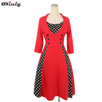 2017 Women Wear Red Polka Dot Vintage Audrey Hepburn 50s Rockabilly A Line Party Dress Vestidos