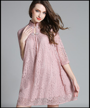 4XL Lace dress 5xl women plus size 2017 High Quality Women Bohemian Black Lace Autumn Casual chinese button pink loose dress