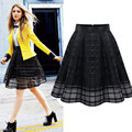 2017 European And American Women's Spring Summer Chiffon Pleated Net Yarn Plaid Organza Skirts Woman Fashion Bubble Skirt