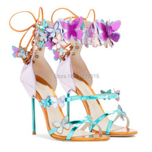 2017 New Fashion Women Gladiator Sandals High Heels Summer Shoes Woman Huarache Ankle Strap Butterfly Zapatos Mujer Scarpe Donna