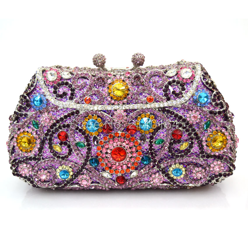 ФОТО Evening bag custom costly diamond socialite hand bag flowers design late outfit bag set auger annual meeting hand caught Q71
