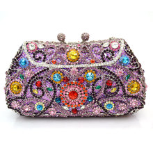 Evening bag custom costly diamond socialite hand bag flowers design late outfit bag set auger annual