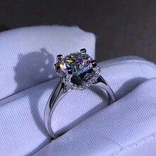 14K White Gold 1ct 2ct 3ct Moissanite Ring round cut Luxurious Lab Diamond Engagement wedding Anniversary Ring For Women цены онлайн