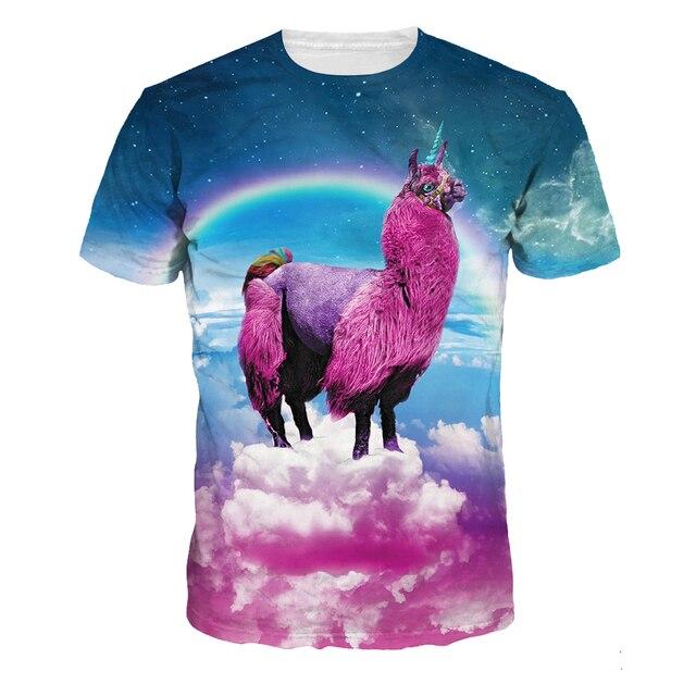 b4bcc8d9621 3D t shirts for women mens Alpaca Cartoon punk basic tops Big elastic o neck