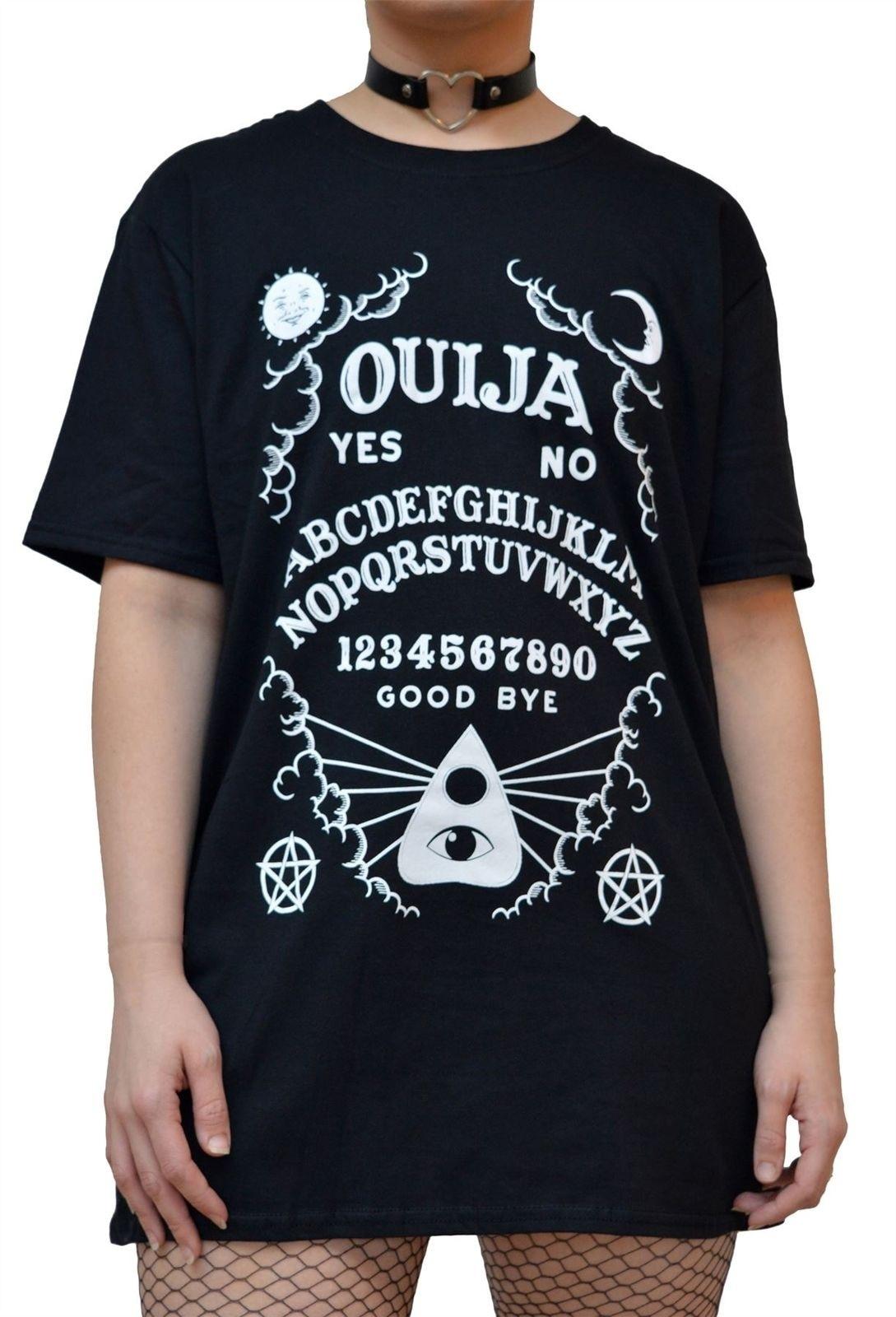 Kuakuayu HJN Ouija Board Women Gothic Black T-Shirt Grunge Swag Oversized Graphic Tee Halloween Clothing
