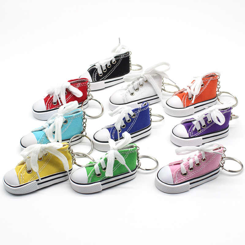 Key Ring Canvas Shoes Keychain Bag Charm Woman Men Kids Key Holder Gift Sports white Sneaker Key Chain Funny Gifts