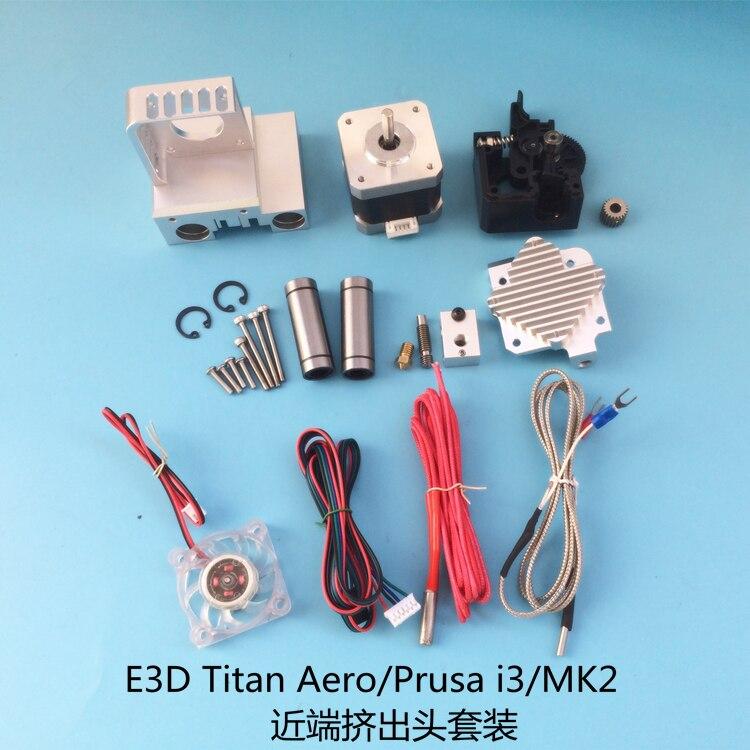 Funssor aluminum alloy Prusa I3 MK2 Titan Aero extruder carriage kit 1.75/3mm 0.4mm nozzle funssor titan aero extruder kit for 1 75mm 3mm 12v 24v 40w titan aero volcano hotend extruder set for reprap 3d printer