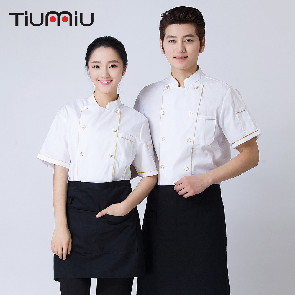 White M-4XL Wholesale Women Men Short-sleeve Double Breasted Kitchen Restaurant Bar Workwear Chef Jacket Catering Bakery Uniform