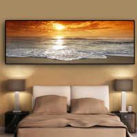Sonnenuntergänge Natürliche Meer Strand Landschaft Poster und Drucke Leinwand Malerei Panorama Skandinavischen Wand Kunst Bild für Wohnzimmer